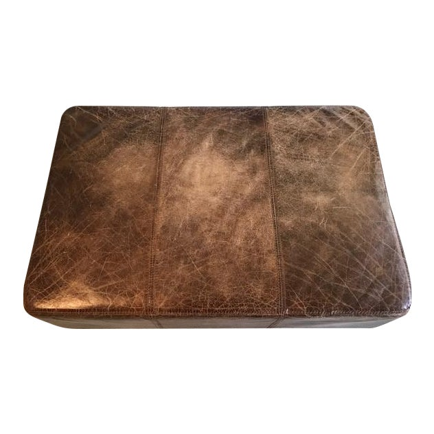 Antique Brown Leather Ottoman - Image 1 of 5