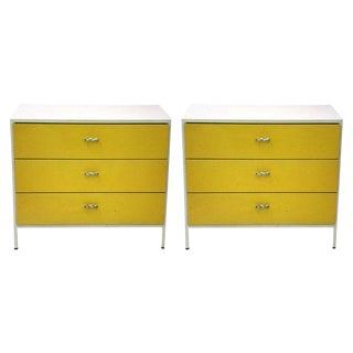 George Nelson 3 Drawer Steel Frame Chests - a Pair