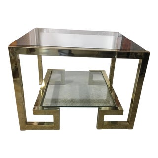 Milo Baughman Greek Key Brass & Glass End Table