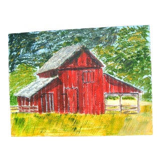 "Original ""Red Corn Crib"" Painting"