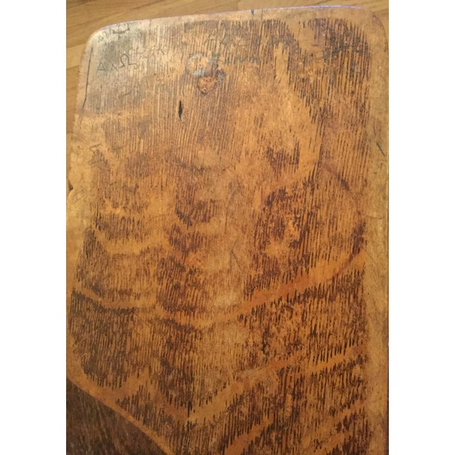 Antique Quarter Sawn Oak University Lecture Hall Chair - Metal Pedestal - Image 6 of 7