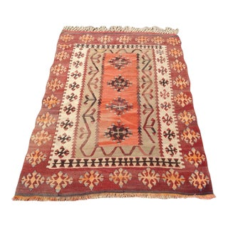 Vintage Turkish Kilim Rug - 3' X 4'1""