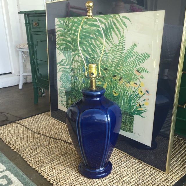 Mid Century Modern Royal Blue Drip Glaze Ceramic Table Lamp - Image 3 of 11