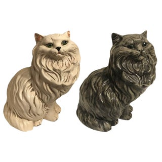 Vintage Large White & Gray Fluffy Persian Cat Figurines - a Pair
