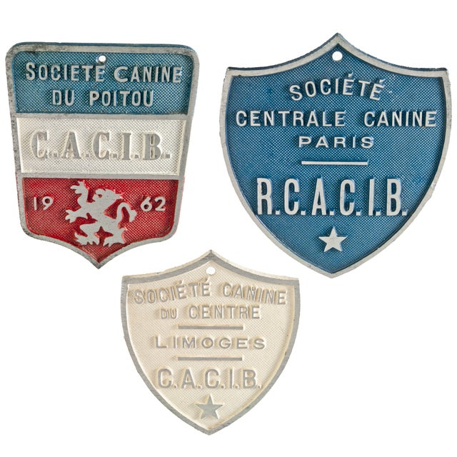 Vintage French Dog Show Award Plaques - Set of 3 - Image 1 of 2