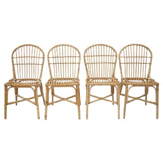 1970's Bamboo Dining Chairs - Set of 4