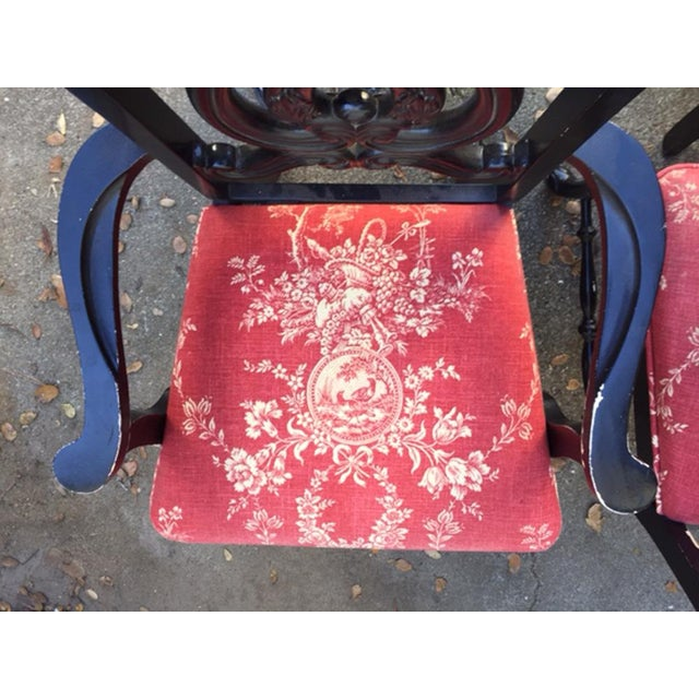 Hollywood Regency Chinoiserie Red Toile Black Louis French Dining Chairs - 6 - Image 6 of 11