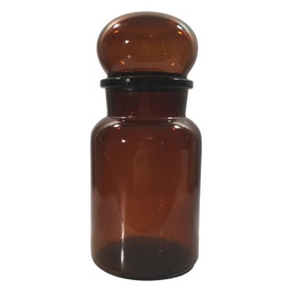 Amber Glass Bubble Top Apothecary Jar
