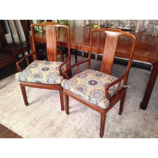 Henredon Asian Cane Dining Arm Chairs Pair Chairish - Asian chair asian