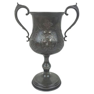 English Etched Pewter Loving Cup