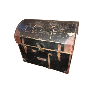 English Leather Domed Travel Trunk