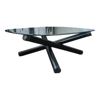 Modernist Black Baton & Green Marble & Glass Coffee Table