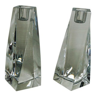 Orrefors Leaded Crystal Tornado Candle Holders- A Pair
