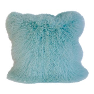 Caribbean Blue Curly Lamb Pillow