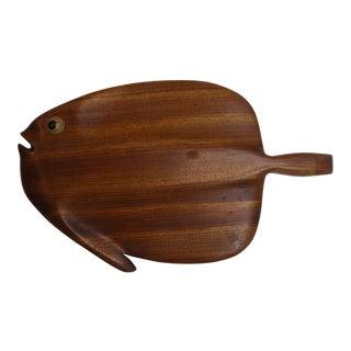 Modernist Folk Art Hand Carved Teak Wood Fish