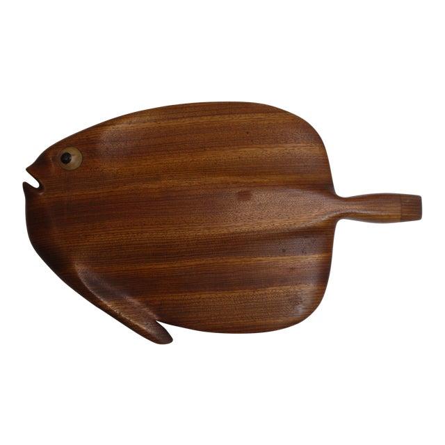 Image of Modernist Folk Art Hand Carved Teak Wood Fish
