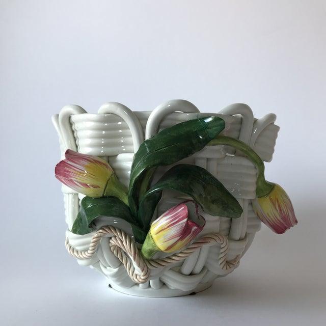 Majolica Basketweave Tulip Planter - Image 10 of 10