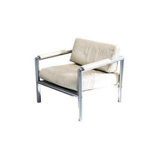 Tubular Chrome & Leather Lounge Chair