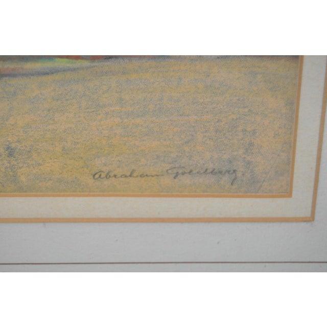"""Abraham Goldberg """"Coastal Scene w/ Figures"""" Pastel Painting c.1930s - Image 5 of 7"""