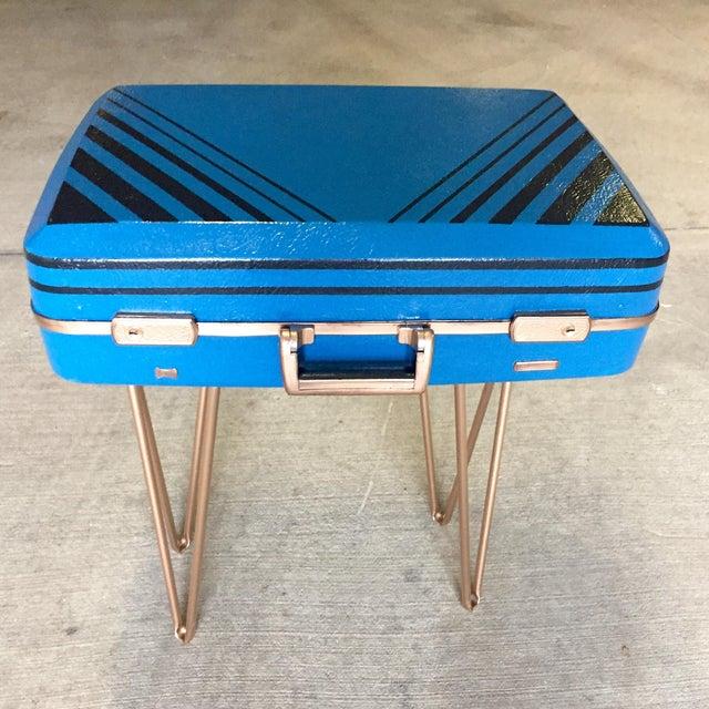 Vintage Retro Blue Suitcase Table - Image 2 of 7