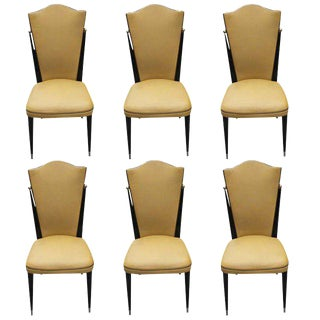 French Art Deco Mahogany Dining Chairs - Set of 6