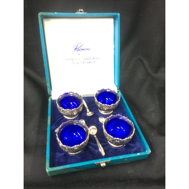 Image of Silverplate Salt Cellars with Spoons - Set of 4