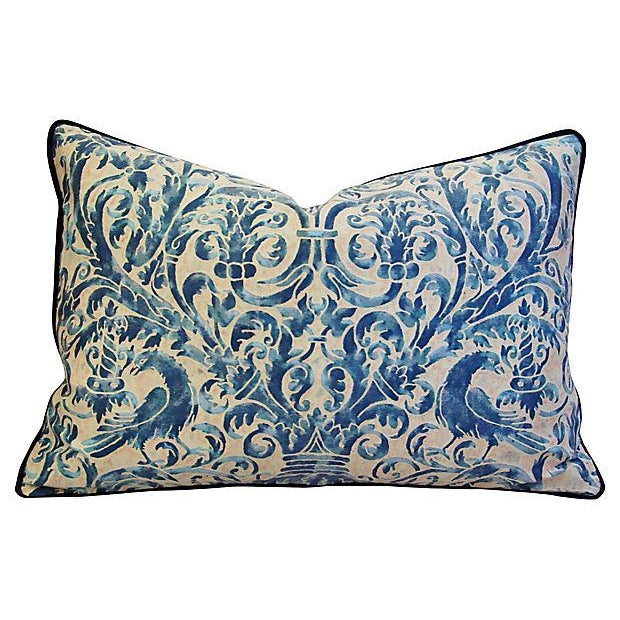 Custom Designer Italian Fortuny Uccelli Feather/Down Pillows - Pair - Image 4 of 10