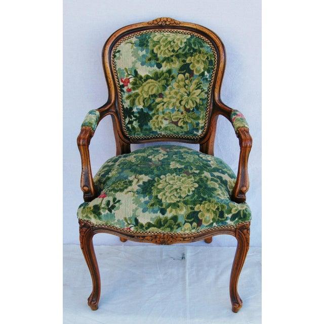 Image of Scalamandre Marly Velvet Tapestry Upholstered Walnut Armchair