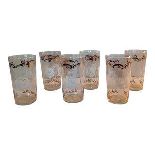 Vintage Rose Motif Glasses - Set of 6