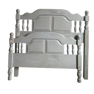 Vintage Hand Painted Grey Twin Head/Footboards