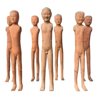 "Set of Seven Han Dynasty Painted Pottery ""Stick Men"""