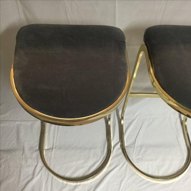Vintage Brass Amp Gray Velvet Bar Stools A Pair Chairish