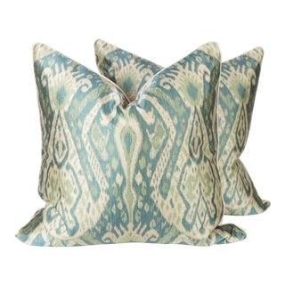 Teal & Green Sateen Ikat Pillows - A Pair