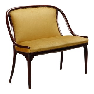 Thonet Settee With Mustard Color Fabric