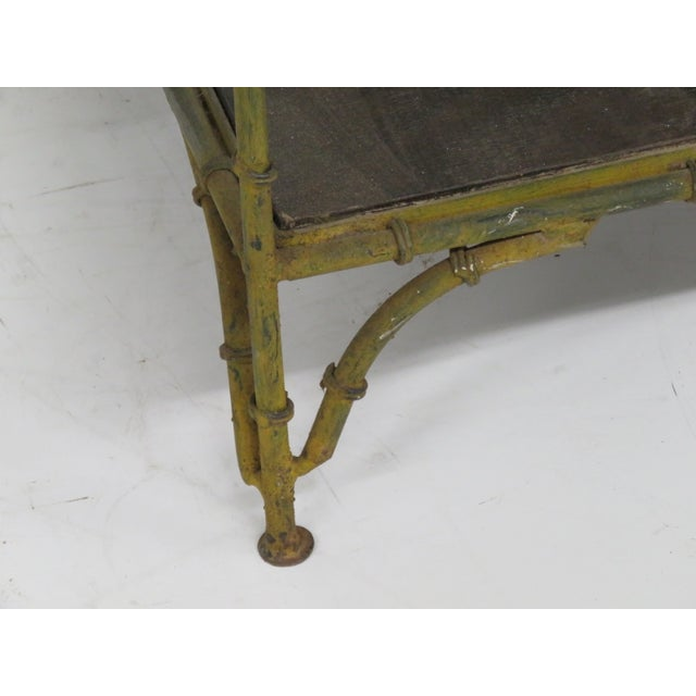 Distressed Painted Metal Faux Bamboo Etagere - Image 2 of 4