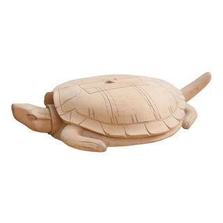 Folk Art Oversided Hand Carved Wooden Turtle box