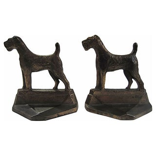 Art Deco Dog Figurine Bookends - A Pair