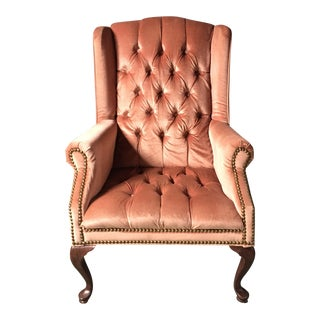 Blush Pink Velvet Wing Back Chair With Brass Studs