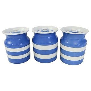 Vintage English Cornishware Canisters - Set of 3