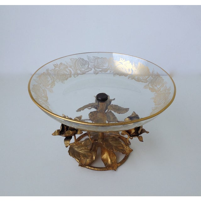 Gilt Italian Tole & 22k Gold Glass Center Bowl II - Image 6 of 8