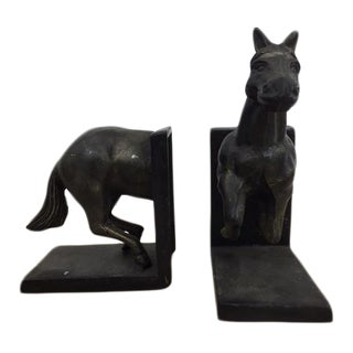 Antique Metal Horse Shaped Bookends - A Pair