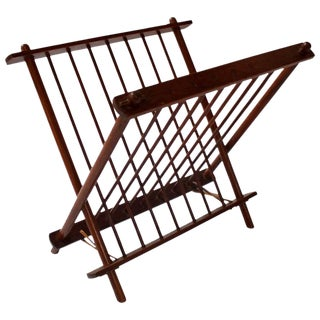 Mid-Century Wood & Leather Folding Magazine Rack