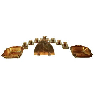 Copper Candle Holder, Napkin Holder & Dishes - 4 Pieces