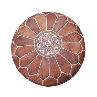 Dark Tan Moroccan Leather Pouf/Ottoman