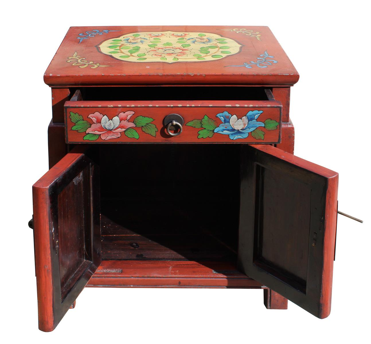 Chinese Oriental Distressed Red Orange End Table   Image 4 Of 7
