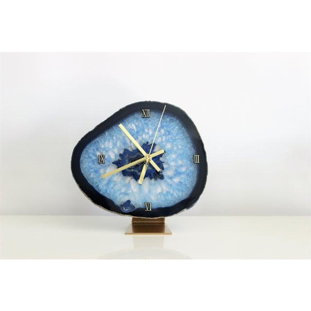 Modern Blue Agate Slice Boho Clock - Image 4 of 7