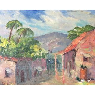 Original Signed 1920s Mexican Village Landscape
