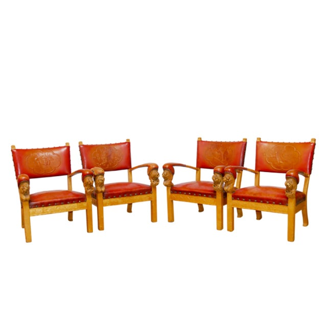 Norwegian Folk Art Leather Armchairs - Set of 4 - Image 1 of 10