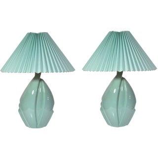 Mid-Century Modern Hollywood Regency Green Ceramic Art Pottery Harris Lamps - a Pair