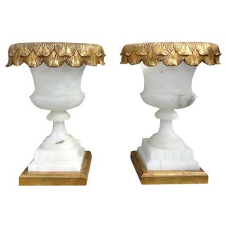 Italian Alabaster Urn Form Lamps on Gilt Wood Bases - A Pair